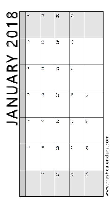 printable calendar vertical january 2018 printable calendar templates