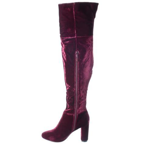 womens block heel the knee thigh high suede