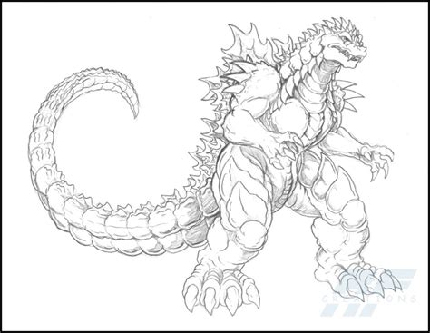 godzilla 2 coloring pages a detailed sketch of almighty godzilla coloring page