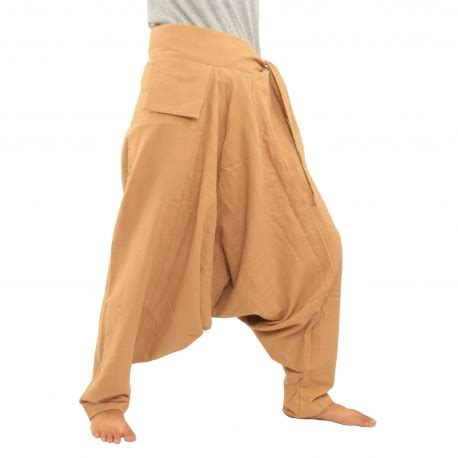 Baggy Khaki baggy trousers with small side pocket sideways to bind