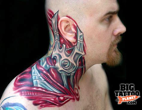 biomechanical neck tattoo biomechanical tattoos and designs page 210