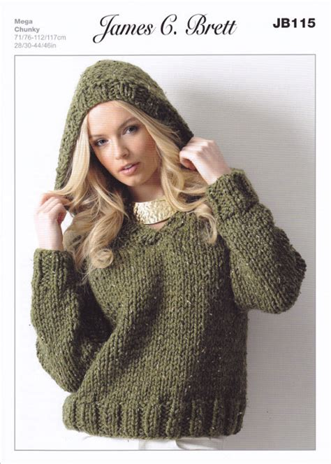 Knitting Pattern Sweatshirt Jumper | ladies chunky v neck jumper hooded sweater knitting