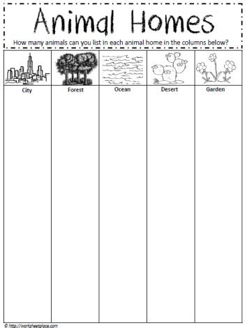 printable animal homes animal homes worksheet worksheets