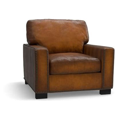 turner leather armchair turner square arm leather armchair with nailheads