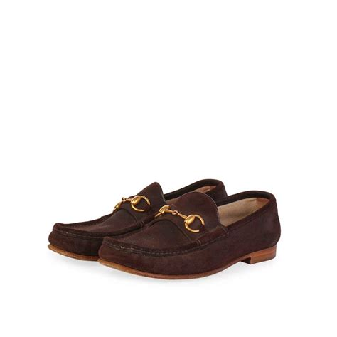 gucci vintage horsebit suede loafers brown s 40 6