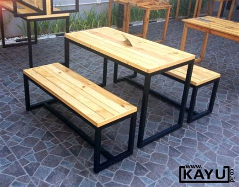 1 Set Meja Kursi Untuk Cafe toko furniture mebel kayu minimalis murah meja