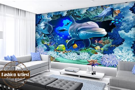 Ikea Wall Murals custom 3d kids ocean wallpaper mural live fish dolphin