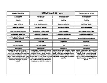 Stem Preschool Lesson Plans By Pre K Stem Teachers Pay Teachers Stem Lesson Plan Template