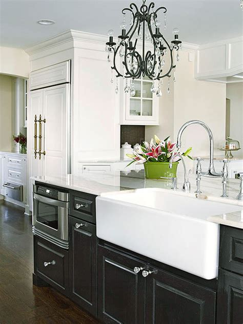 Black White Kitchen Cabinets by Black Cabinets With White Farm Sink Contemporary