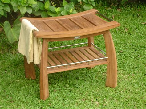 teak shower bench stool w shelf garden patio furniture ebay