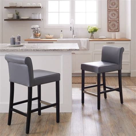 Cosmopolitan Leather Counter Stools by Cosmopolitan Grey Leather Counter Stool Set Of 2 Bar