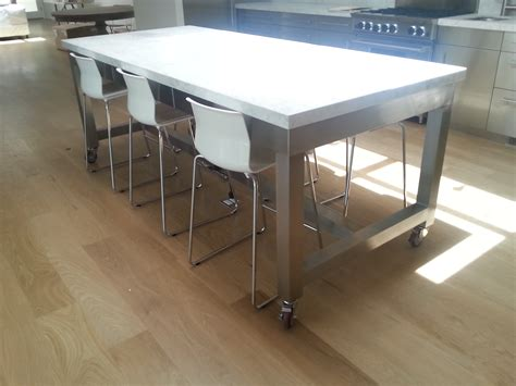 Metal Kitchen Island Tables custom stainless steel mobile island table jnl stainless
