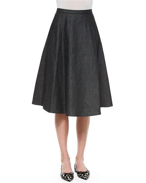 michael kors a line denim midi skirt in black lyst