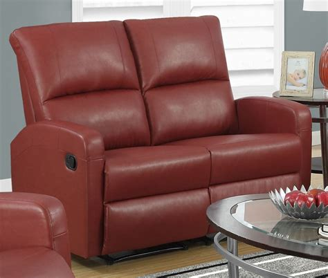 red leather loveseat recliner red bonded leather reclining loveseat 84rd 2 monarch