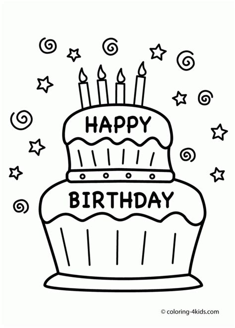small birthday cake coloring page coloring pages cake happy birthday party coloring pages