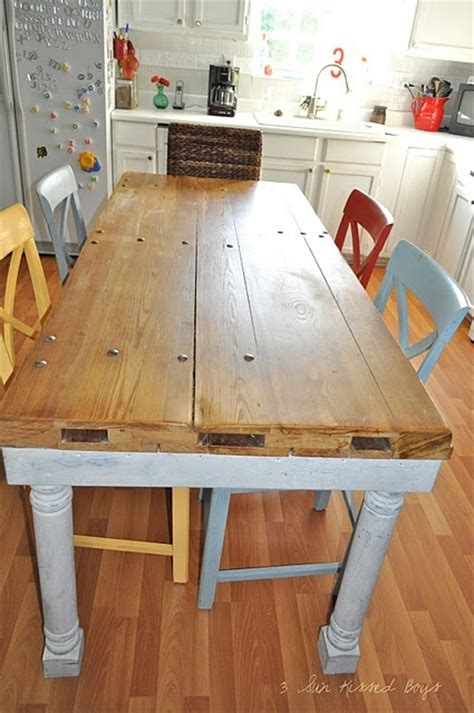 farmhouse table made from garage door for the home