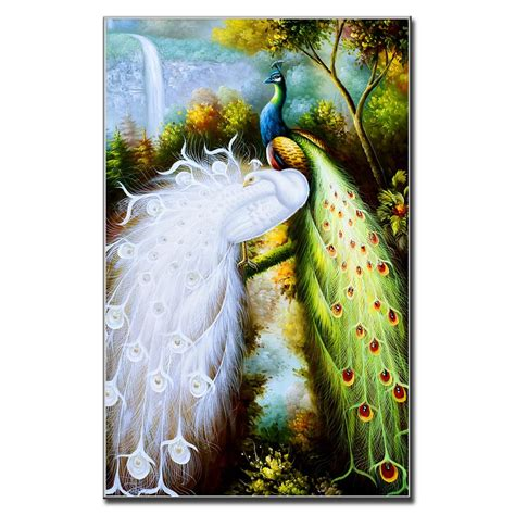 Painting 200x80cm 2 Peacock canvas wall picture beautiful peacocks painting on canvas chinoiserie modern wall