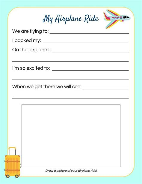printable children s diary airplane ride kid s travel journal page kid travel