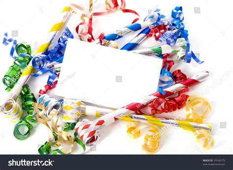 new years streamers a blank note card surrounded by ribbons streamers and