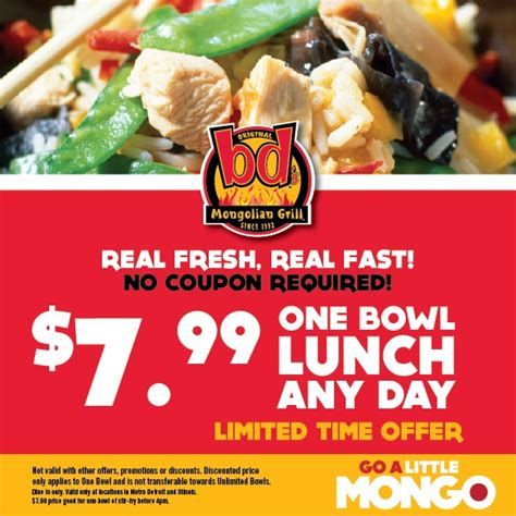 Bds Mongolian Grill 7 99 Lunch Bowl Printable Coupon Mongolian Buffet Coupons