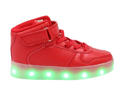 kids red galaxy led shoes light up usb charging high top lace