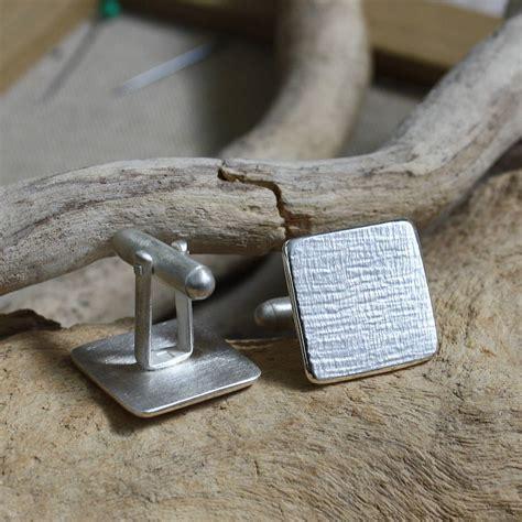 Handmade By Caroline - handmade textured silver squares cufflinks by caroline