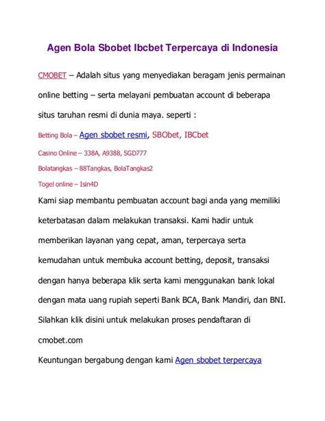 Resmi Indonesia cmobet net situs agen bola sbobet resmi indonesia