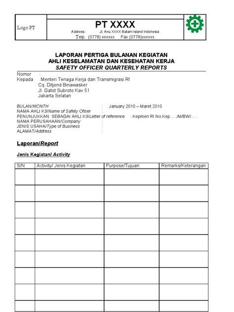contoh format lop doc form laporan ak3 contoh format
