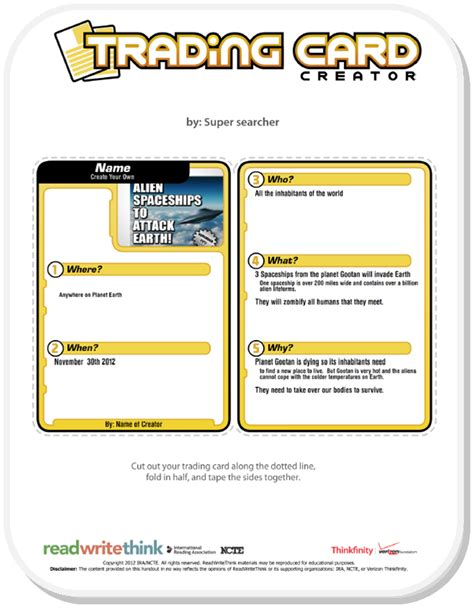 Trading Card Template Word