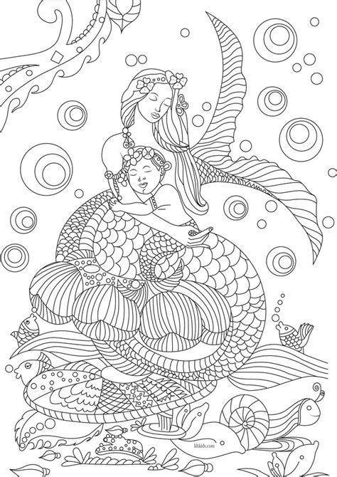 mermaid family coloring page free beautiful mermaid adult coloring book image from