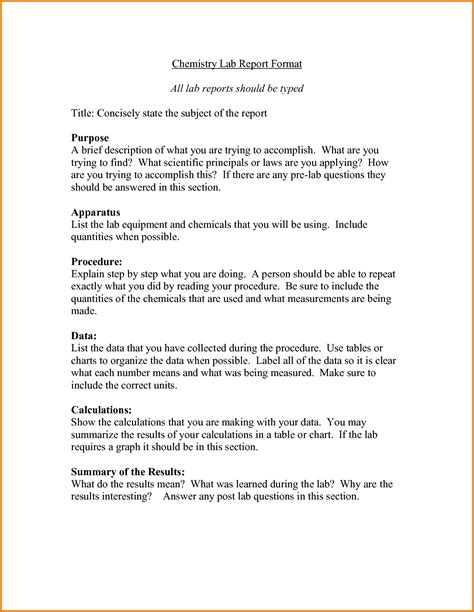 chemistry lab report template new sample lab report example forms