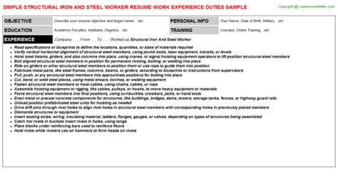 charming iron worker resume sles images resume ideas