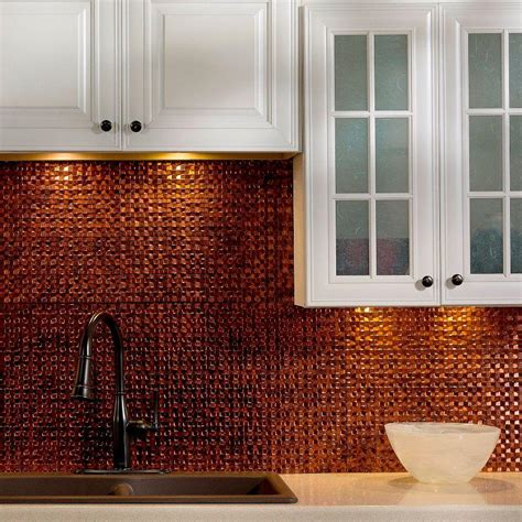 copper backsplash for kitchen fasade 24 in x 18 in terrain pvc decorative tile