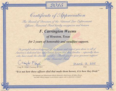 Officer Memorial Card Template by Certificate Of Appreciation National Enforcement