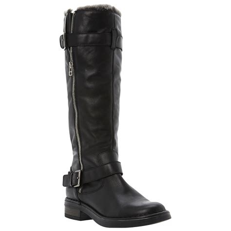 dune tooding faux fur lined knee high leather boots in