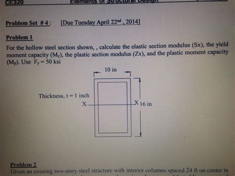 Polar Section Modulus Formula by For The Hollow Steel Section Shown Calculate Th