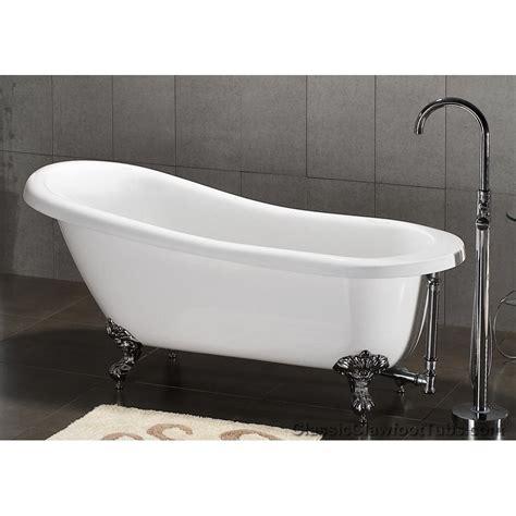 """67"""" Acrylic Slipper Clawfoot Tub   Classic Clawfoot Tub"""