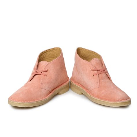 clarks originals dusty pink nubuck leather womens desert