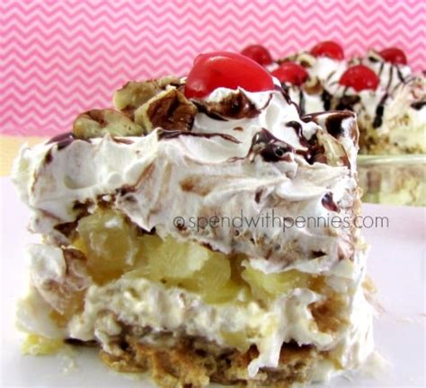 No Bake Banana Split Cake No Bake Banana Split Icebox Cake Spend With Pennies