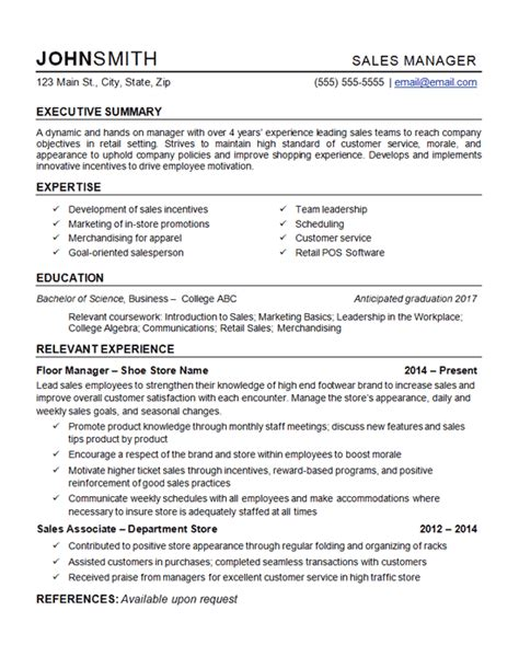 retail manager resume exle department store