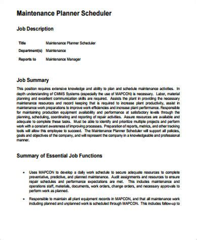 11 Scheduler Job Description Sles Sle Templates Maintenance Description Template