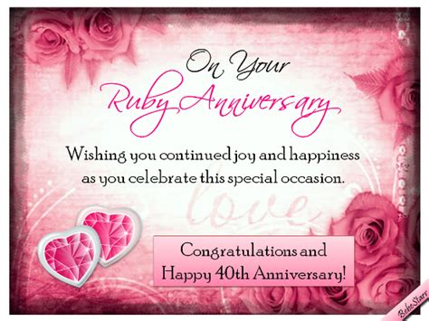 Ruby Wedding Anniversary Quotes by Ruby Anniversary Wishes Free Milestones Ecards Greeting