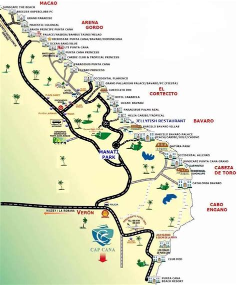 map of punta cana punta cana resorts location map