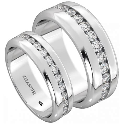 his and hers titanium wedding engagement ring band set