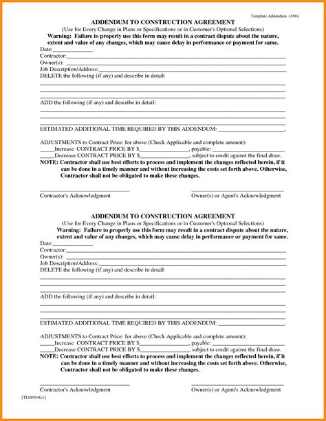 Fresh Lease Addendum Template Templates Design Contract Addendum Template