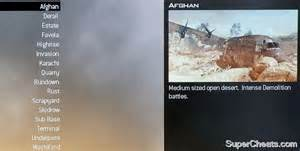 Multiplayer maps their names and a brief description of each follow