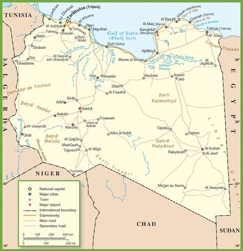 libya map with cities libya road map