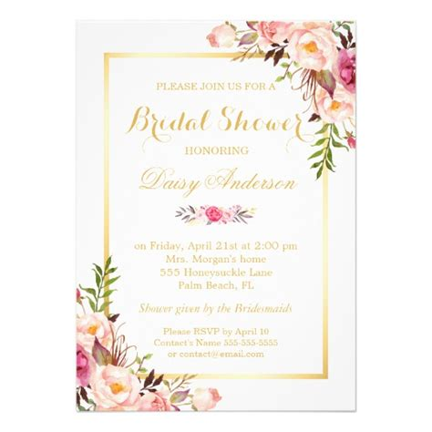 50 s style wedding shower invitations wedding bridal shower chic floral golden frame card