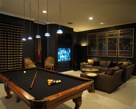 game room couches dark media room with pool table more media pinterest