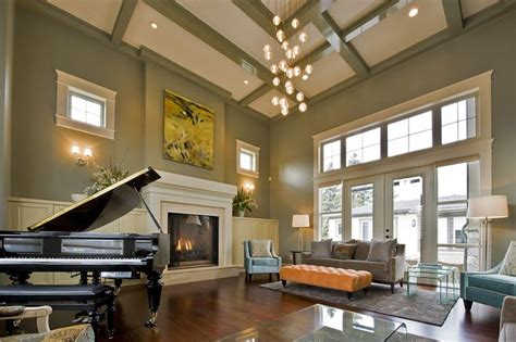 Living Room Lighting High Ceiling Coffered Ceiling